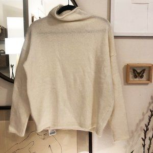 mock neck cream wool/angora sweater